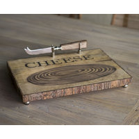TABLA TRONCO PARA QUESO CON CUCHILLO - 32 x 27 cms