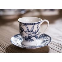 TAZA DE CAFE CON PLATO BLUE DOVE